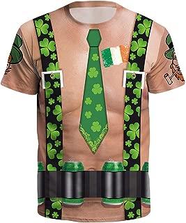 Men Women's St. Patrick's Day Clover Printed Short Sleeved O-Necked T-Shirt Tops