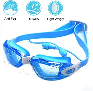 Zerhunt Swim Goggles for Kids 2019 Newest, Swimming Goggles UV 400 Protection Anti Fog No Leaking Wide View Pool Goggles with Ear Plug & Protective Case