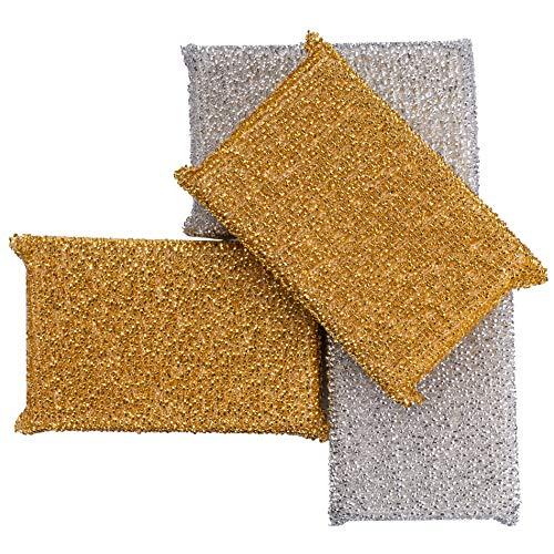 C-lean House Profi Glänzerkissen speziell für hartnäckige Verschmutzungen - Im praktischen 4er Set - Lurex Putz Schwamm erleichtert Ihnen die Reinigung