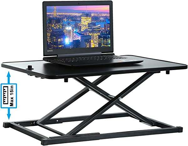 Standing Desk Height Adjustable Desk Stand Up Desk Converter Quick Sit To Stand Gas Spring Riser 29 Inch Wide Tabletop Workstation With Sturdy Frame For PC Desktop Laptop Dual Monitor Black