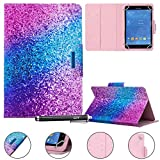 Universal Case for 7.0 inch Tablet, Newshine Stand Folio Case Protective Cover for All Round 7.0' Touchscreen Tablet, with Multiple Viewing Angles, Card/Cash Pocket - Blue Purple