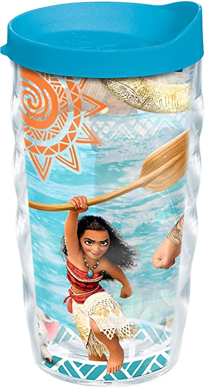 Tervis 1241644 Disney Moana Adventures Tumbler With Wrap And Turquoise Lid 10oz Wavy Clear