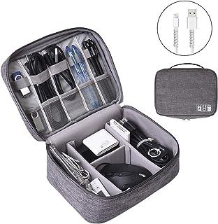 OrgaWise Bolsa Cables de Viaje Organizador Accesorios para Tableta Disco Duro Externo Cargador Cables Objetos Kindle Adaptadores Tarjetas de Memoria Cables USB (2 Capas / 3 Capas)
