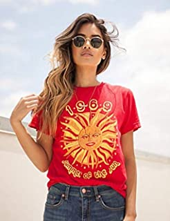 Hylong 1969 Summer of The Sun Graphic T-Shirt Women 70s Vintage Fashion Tee Casual Short Sleeve Shirt Hipsters Large Red