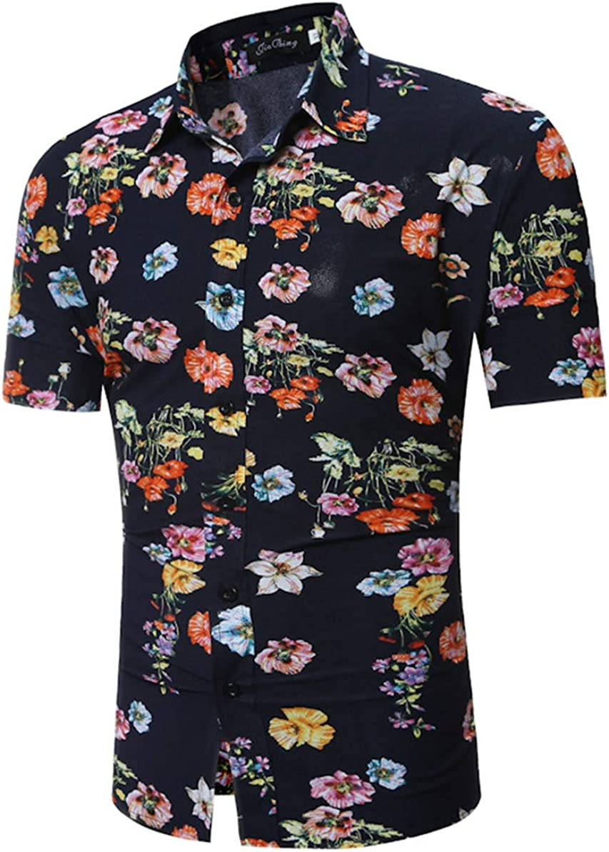 EverNight Men's Shirt Casual Personality Chinese Style 3D Print Short Sleeve Shirt