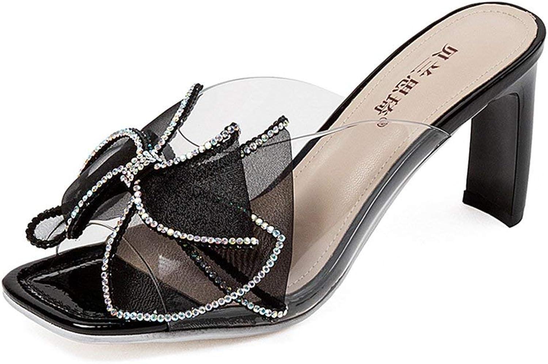 BMY Sandalen Sommer Frauen Open Toe Fliege Strass Transparente Hausschuhe Rmische Schuhe Strand Schuhe 8 cm (Gre  EU36   UK4   CN36)