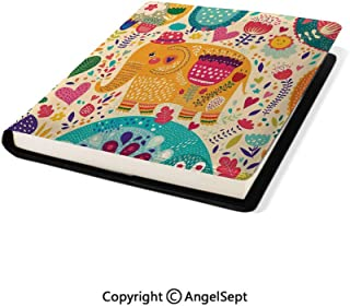 Microfiber Leather Book Cover, with Colorful Pattern Child Art Hats Flowers Plants Leaves Summertime Multi,9