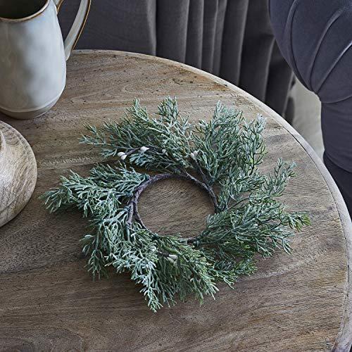 Lights4fun Corona Decorativa de Navidad con Bayas Blancas de 25 cm de Diámetro para Interiores