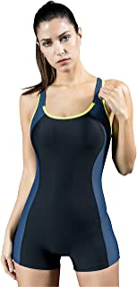 Hilor Women's One Piece Swimsuit UV Protection Sports Training Swimwear Athetic Boy Leg Racing Bathing Suit
