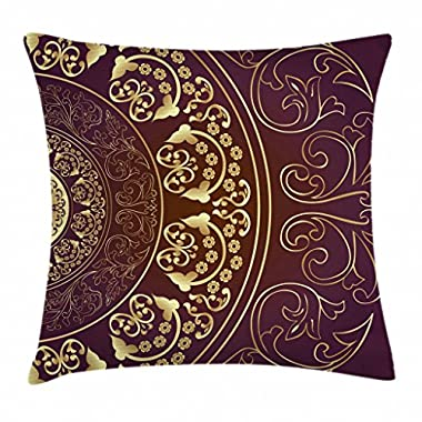 Ambesonne Mandala Throw Pillow Cushion Cover by, Vintage Ethnic Asian Spiritual Cosmos Pattern with Swirled Floral Leaves Artwork, Decorative Square Accent Pillow Case, 18 X 18 Inches, Burgundy Gold