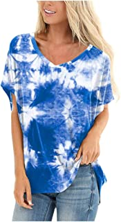Women Summer Short Sleeve Tops, Ladies V-Neck Tie-dye Printed Casual T-Shirt Blouse Pullover Tops