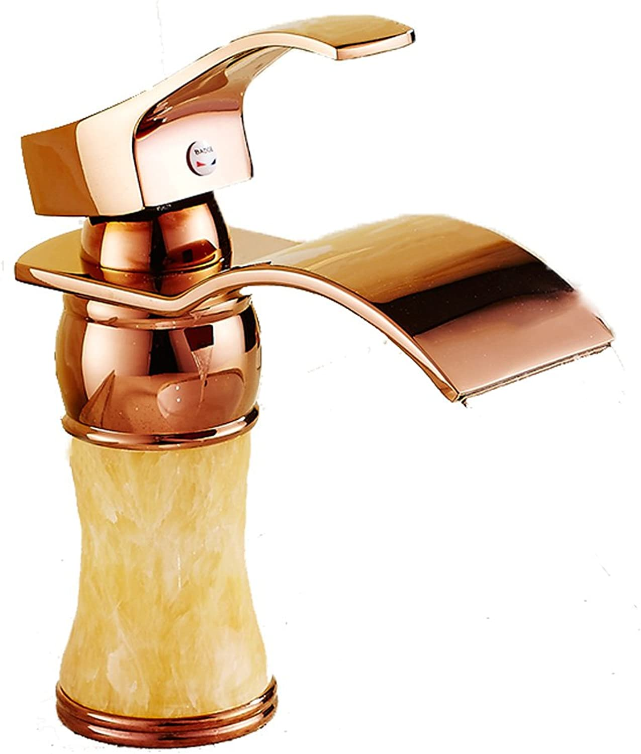 Bidet Taps Topaz pink gold Faucet Copper Hot And Cold Single Hole Waterfall Retro European Style Bathroom Wash Basin Aperture 32MM To 40MM Can Be Installed