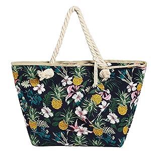 Bolso de Playa Grande Impermeable con Cremallera Bolso de Hombro Flores y piña | DeHippies.com