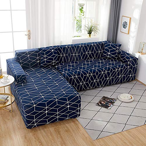 PPOS Geometry Elastic Stretch Sofa Cover Slipcovers All-Inclusive Couch Cover for Different Shape Sofa Chair L-Style D5 Loveseat 145-185cm-1pc