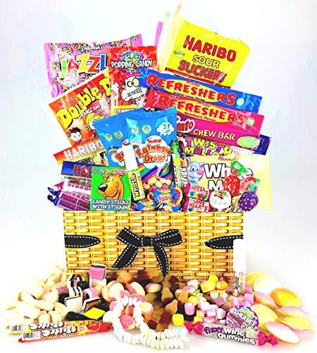 Único Retro Sweet & Chocolate cesta caja–Old School favoritos cualquier ocasión como éxito, Navidad, cumpleaños, gracias–añade mensaje personal