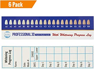 6 Pack Professional 3D Teeth Shade Guide with Whitening Daily Progress Log by Accu White (6 Pack, 6 Week Supplies)