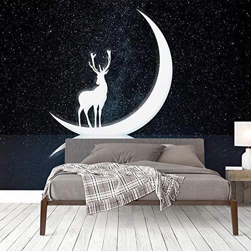 Fototapete 3D Effekt Wohnzimmer Vlies Fototapete Tapete Moderne Dekoration Wanddeko Wandbilder Starry Elk Light Luxus Wallpaper