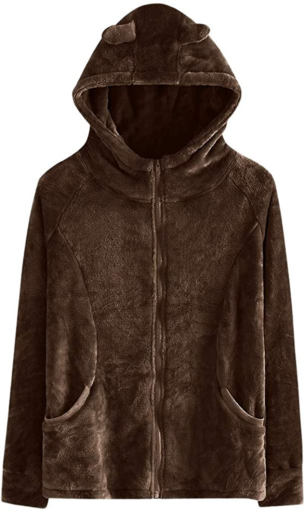 LODDD Women Fashion Solid Faux Fur Jacket Rabbit Ear Hooded Plush Zipper Pocket Coats