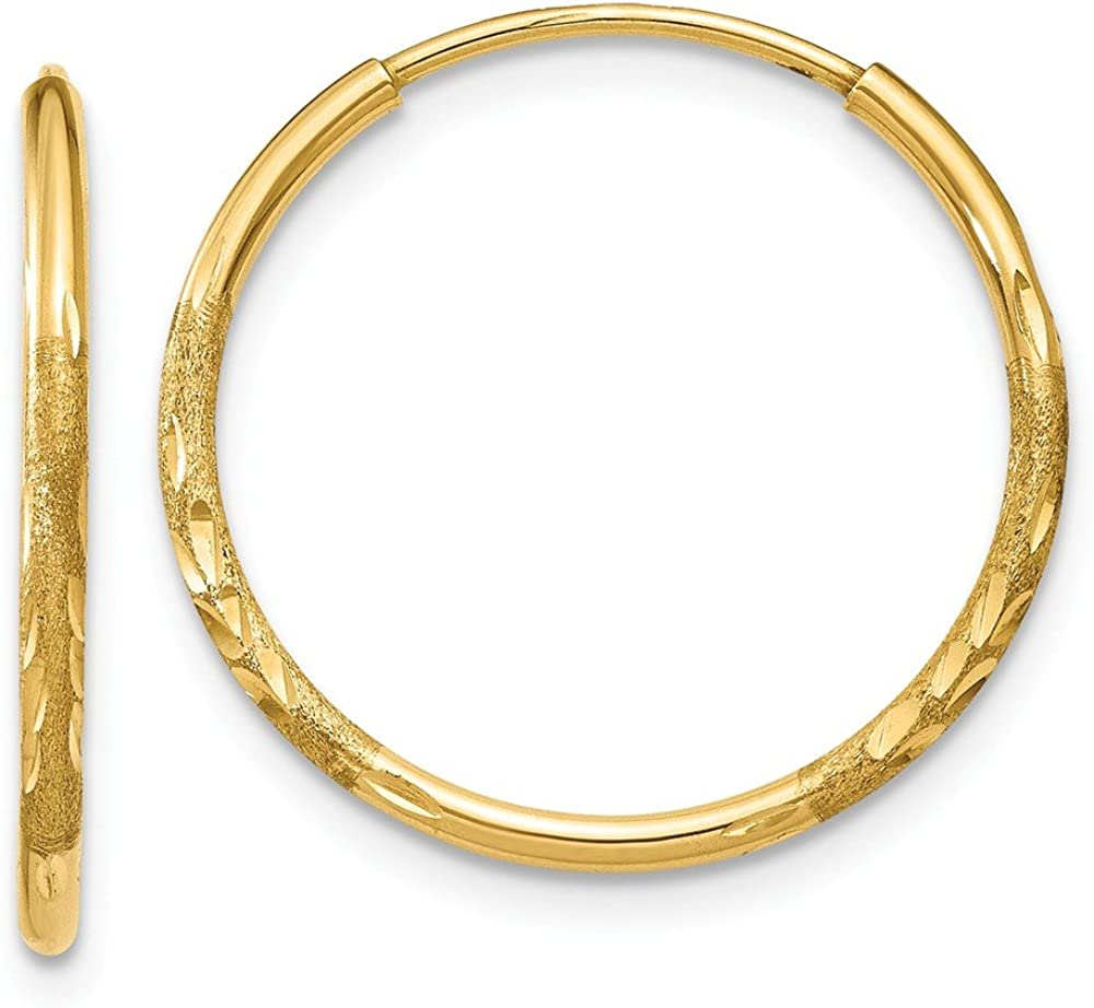 14K Yellow Dealing full price reduction Gold 1.25mm Tampa Mall Shiny-Cut Earrings Hoop XY1218 Endless