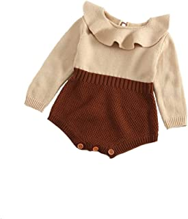 COODIO Baby Kid Long Sleeve Romper Knitted Ruffle Jumpsuit Playsuit Outfit