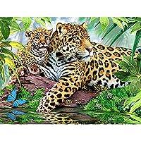 DIY5Dダイヤモンド絵画ヒョウ刺繡動物クロスステッチ家の装飾45cmX60cm