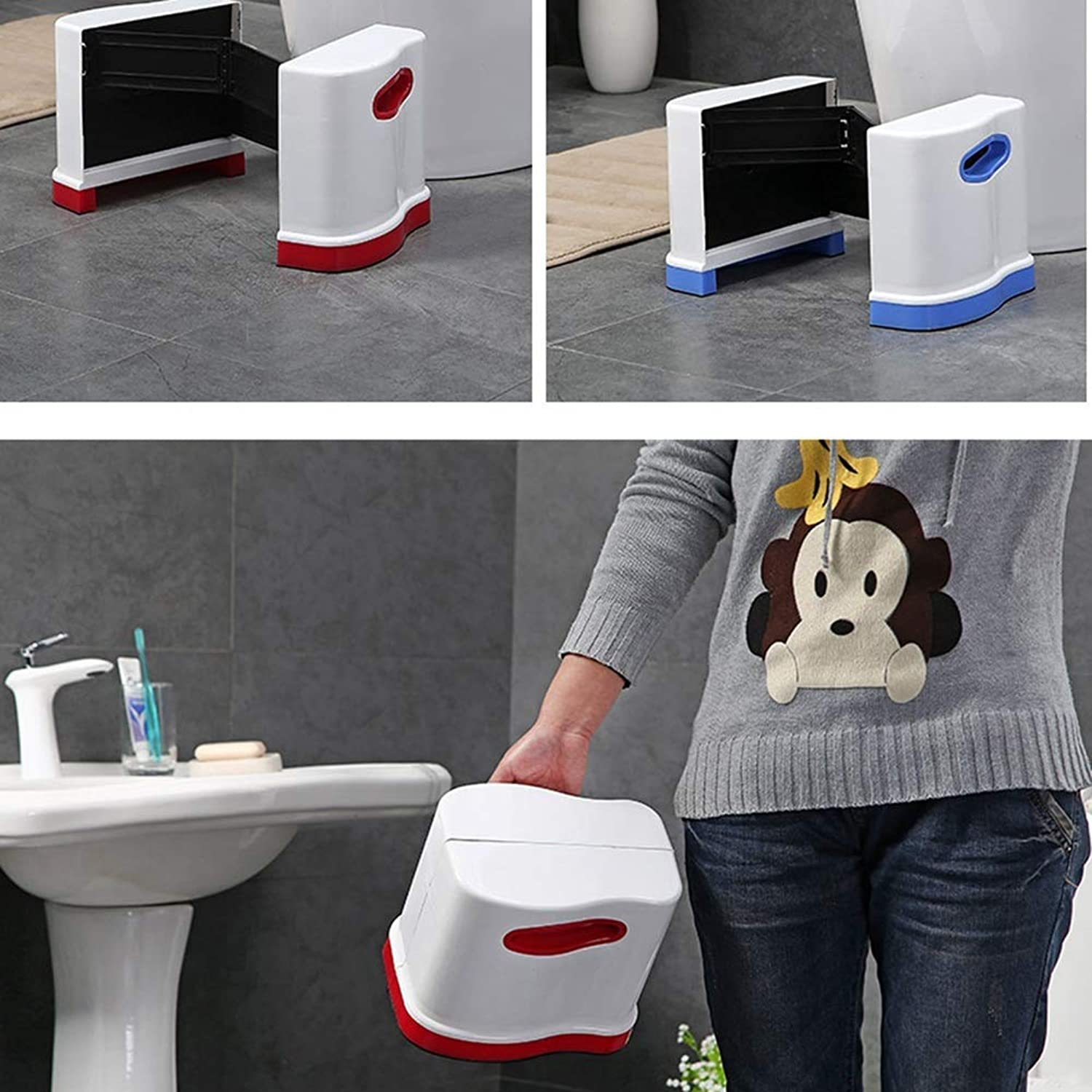 BBG Fashion Creative Small Furniture Anti-Slip Stool Squatting Toilet Stool Plastic Adjustable - Suitable for Families to Relieve Constipation Acne Multifunction Household Creative,White+bluee,Large