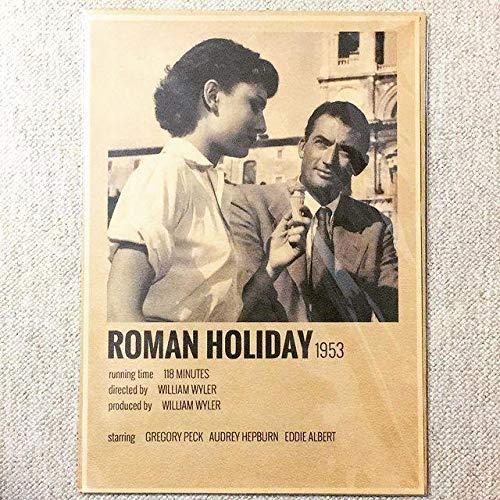 ミニ ポスター「ローマの休日 下に文字 オードリー・ヘプバーン ヘップバーン」 クラフト紙 サイズ:30x42cm
