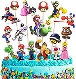Caricatura Super Mario Cake Topper Mini Juego de Figuras Niños Mini Juguetes Baby Shower Fiesta de cumpleaños Pastel Decoración Suministros 24 Piezas