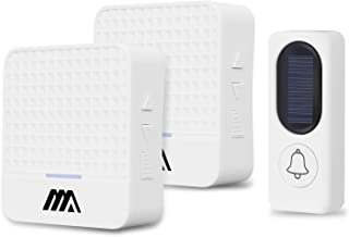 Boomile Wireless Doorbell Kit, Operating at 1000 feet, 2 Plug-In Receivers and 1 Remote Push Button, 52 Beautiful Chimes, CD Quality Sound, LED Indicator - No Batteries Required for Receiver