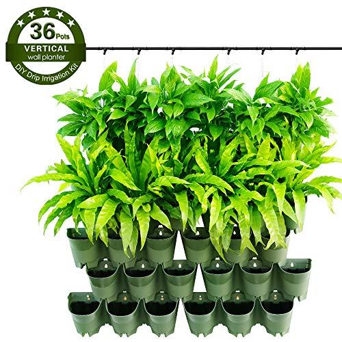 Worth Garten Selbstbewässernd hängende Vertikal 36 Taschen Pflanzgefäße in 12 Set Paket Olive Grün, Wasserversorgung, mit Bewässerungssystem