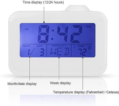 Feifuns Reloj despertador con proyector, luz nocturna suave LED, función de repetición, ajuste