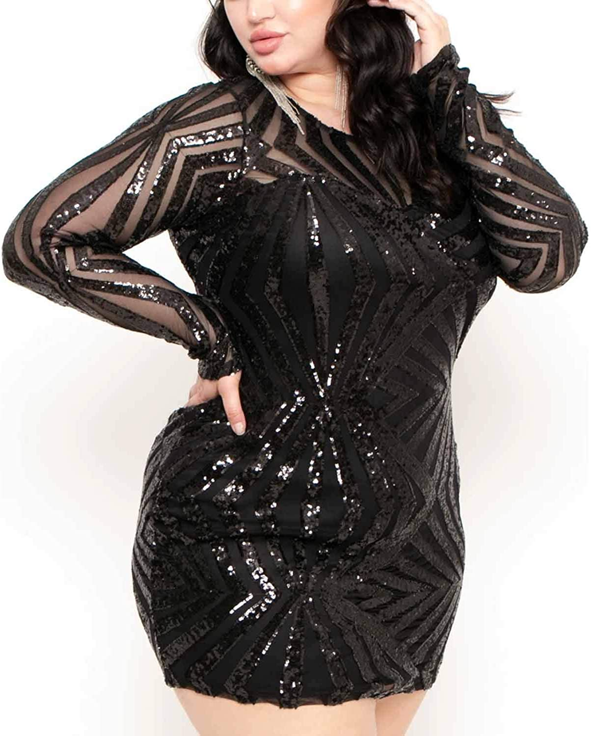 Bbrand Women's Sequin Plus Size Long Sleeve Mesh See Through Bodycon Party Club Mini Dress