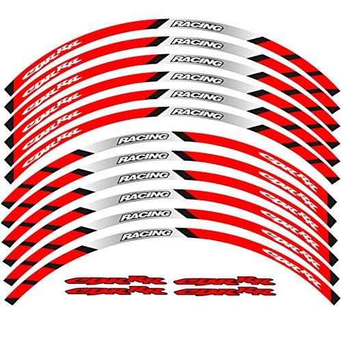 Motocicleta Frente y Ruedas traseras Edificio Etiqueta Exterior Etiqueta Etiqueta Raya Reflectante Calcomanías para Honda CBR RR (Color : A Red)