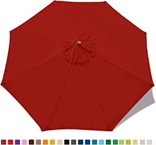 ABCCANOPY 9ft Umbrella Top for Patio/Market Umbrella Replacement Canopy with 8 Ribs(Red)