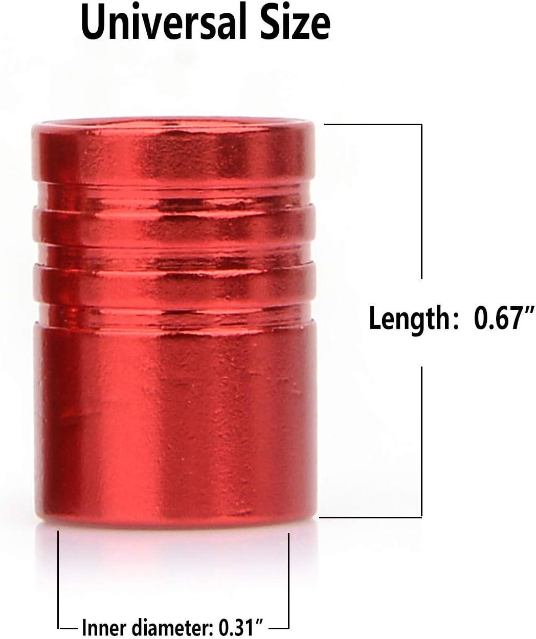 Premium Metal with Plastic Liner Anti-Corrosion Tire Air Stem Cap Emblem Universal fit Car Motorbike Truck Bike 4 Pack Wheel Valve Stem Cap Cover