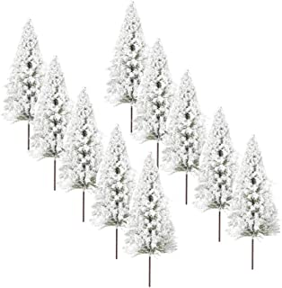Baoblaze Pack of 10 Model Pine Trees Miniature White Snow Winter Forest Train Railway War Game Scenery OO
