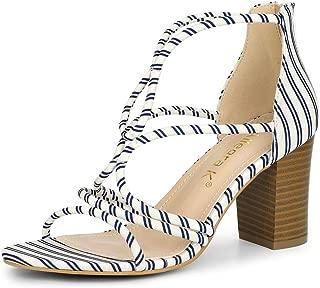 Allegra K Women's Strappy Heels Chunky Heel Sandals