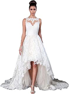 ed25582ccc2 HerDress Women s Lace Tulle High Low Wedding Dress for Bride 2018 with Train