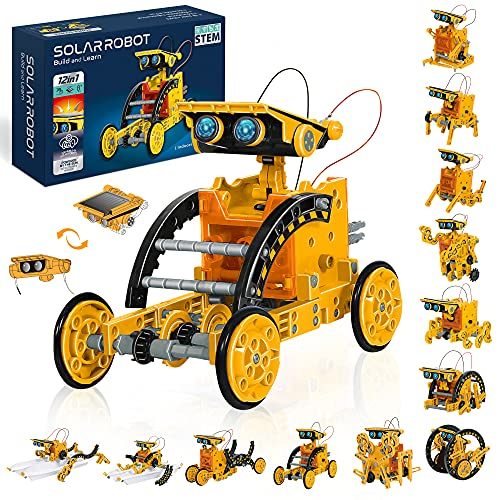 STEM Solar Robot Toys 12-in-1, 190 Pieces Solar and Cell Powered 2 in...