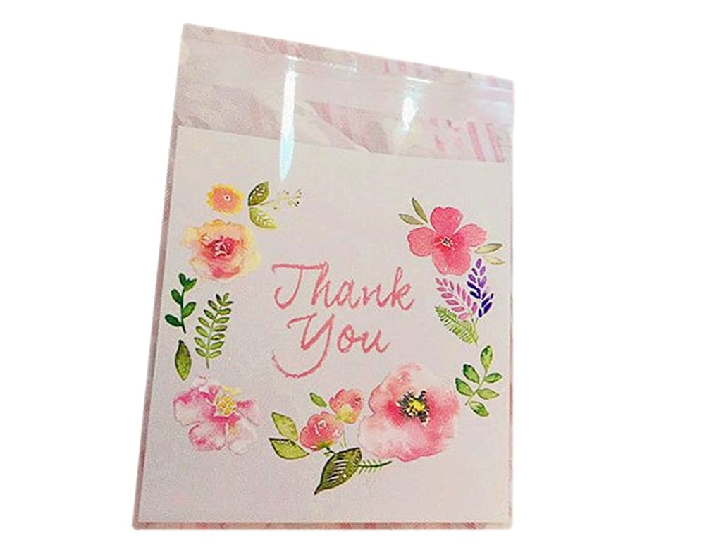 Flower Floral 100 Pcs 10x10cm Baking Cookie Candy Cake Bags Plastic Party Favour Gift Packaging Wrapping Bags