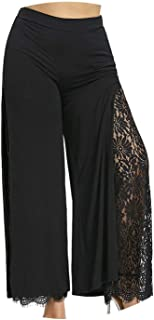 Plus Size Women Summer Wide Leg Pants Casual Loose High Slit Lace Ladies Trousers