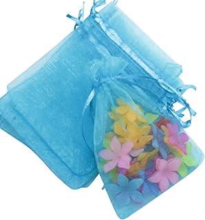 tokimeki19 オーガンジーバッグ 巾着袋 手芸 無地 袋 アクセサリー ポーチ(100枚) (11x16cm, レイクブルー)