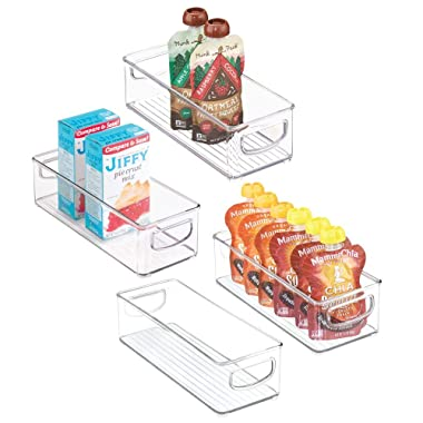 mDesign Stackable Plastic Food Storage Bin with Handles for Kitchen Pantry, Cabinet, Refrigerator, Freezer - Organizer for Fruit, Yogurt, Squeeze Pouches - BPA Free, 10  Long - 4 Pack - Clear