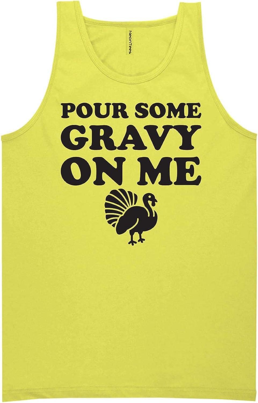 Pour Some Gravy On Me Neon Yellow Tank Top - XX-Large