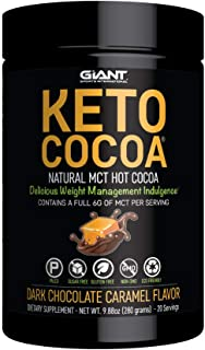 Keto Cocoa - Delicious Sugar Free Hot Chocolate Mix with 6g of MCTs for Appetite Suppressing Ketogenic Diet and Low Carb Lifestyle | No Gluten | 20 Servings | Dark Chocolate Caramel Flavor