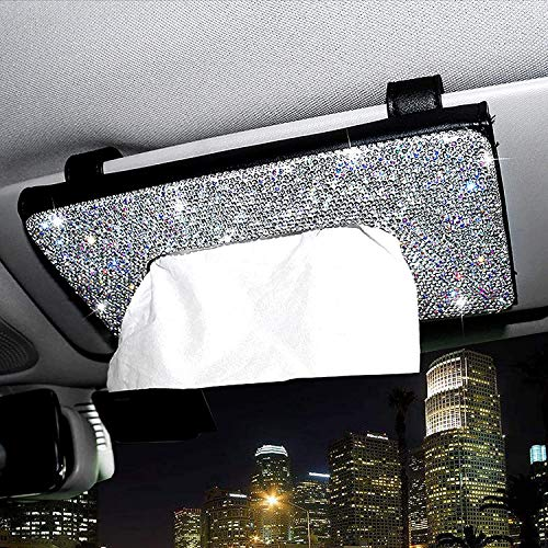 Car Sun Visor Tissue Holder- Bling Bling PU Leather Tissue Case, Crystal Sparkling Napkin Holder, Car Interior Accessories, Paper Towel Storage Universal Fit (Black)