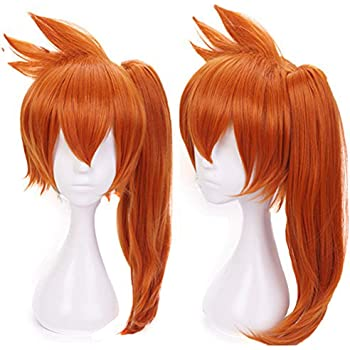Anogol Hair Cap+Anime Cosplay Wig Synthetic Hair Halloween Party Costume Full Wigs