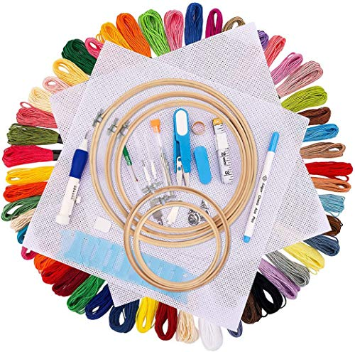 Embroidery Starter Kit, 50 Color Threads,5 PCS Bamboo Embroidery Hoops, Cross Stitch Tools Embroidery Pen Set Threads for Sewing Knitting DIY Threaders Adults and Kids Beginners
