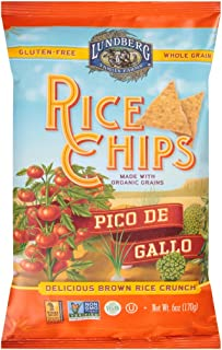 Lundberg Family Farms Rice Chips Made with Organic Grains, Pico de Gallo, 6-Ounce Bags (Pack of 12)