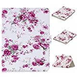 UGOcase Universal Folio Case for 6.7'-7.5' Tablet, PU Leather Stand Protective Magnetic Wallet Case Cover for F ire 7 2017, Galaxy Tab, Nexus, Dragon Touch, ASUS, KOBO,RCA & More 7' Tab, Rose Flower